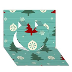 Christmas Tree With Snow Seamless Pattern Vector Heart 3d Greeting Card (7x5)