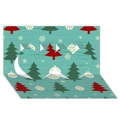 Christmas Tree With Snow Seamless Pattern Vector Twin Hearts 3d Greeting Card (8x4)