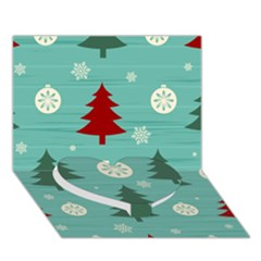 Christmas Tree With Snow Seamless Pattern Vector Heart Bottom 3D Greeting Card (7x5)