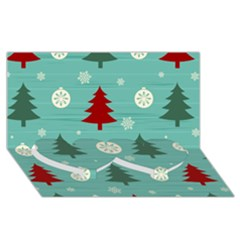 Christmas Tree With Snow Seamless Pattern Vector Twin Heart Bottom 3d Greeting Card (8x4)