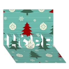 Christmas Tree With Snow Seamless Pattern Vector HOPE 3D Greeting Card (7x5)