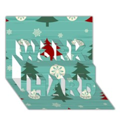 Christmas Tree With Snow Seamless Pattern Vector WORK HARD 3D Greeting Card (7x5)