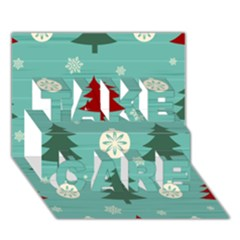 Christmas Tree With Snow Seamless Pattern Vector Take Care 3d Greeting Card (7x5)