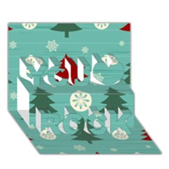 Christmas Tree With Snow Seamless Pattern Vector You Rock 3D Greeting Card (7x5)