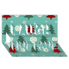 Christmas Tree With Snow Seamless Pattern Vector Laugh Live Love 3d Greeting Card (8x4)