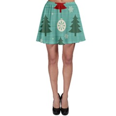 Christmas Tree With Snow Seamless Pattern Vector Skater Skirt