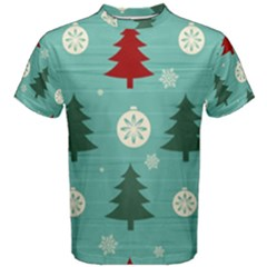 Christmas Tree With Snow Seamless Pattern Vector Men s Cotton Tee