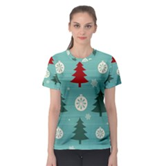 Christmas Tree With Snow Seamless Pattern Vector Women s Sport Mesh Tee