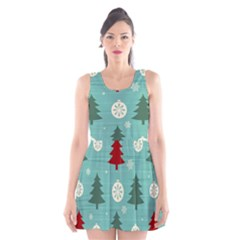 Christmas Tree With Snow Seamless Pattern Vector Scoop Neck Skater Dress
