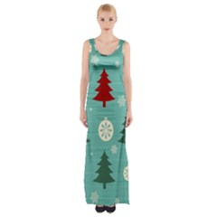 Christmas Tree With Snow Seamless Pattern Vector Maxi Thigh Split Dress