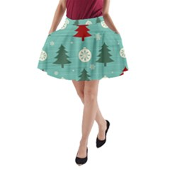 Christmas Tree With Snow Seamless Pattern Vector A Line Pocket Skirt