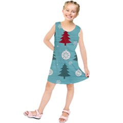 Christmas Tree With Snow Seamless Pattern Vector Kids  Tunic Dress