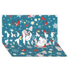 Christmas Stockings Vector Pattern #1 Mom 3d Greeting Cards (8x4)