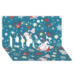Christmas Stockings Vector Pattern Hugs 3d Greeting Card (8x4)