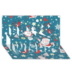 Christmas Stockings Vector Pattern Best Wish 3d Greeting Card (8x4)