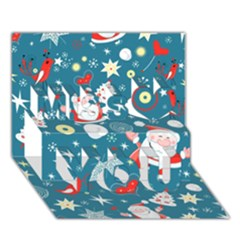 Christmas Stockings Vector Pattern Miss You 3d Greeting Card (7x5)