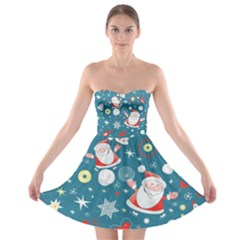 Christmas Stockings Vector Pattern Strapless Bra Top Dress