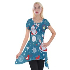 Christmas Stockings Vector Pattern Short Sleeve Side Drop Tunic