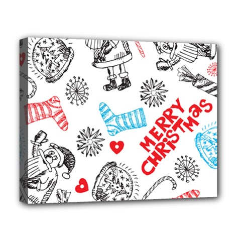 Christmas Doodle Pattern Deluxe Canvas 20  X 16