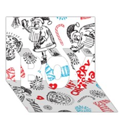Christmas Doodle Pattern BOY 3D Greeting Card (7x5)