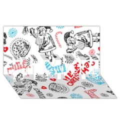 Christmas Doodle Pattern #1 Mom 3d Greeting Cards (8x4)