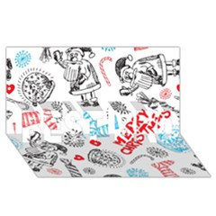 Christmas Doodle Pattern Best Bro 3d Greeting Card (8x4)