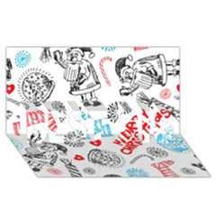 Christmas Doodle Pattern Best Sis 3d Greeting Card (8x4)