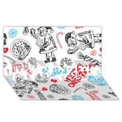 Christmas Doodle Pattern Engaged 3d Greeting Card (8x4)