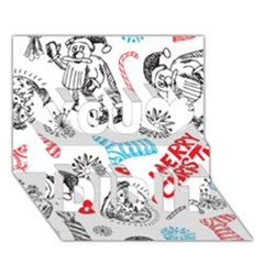 Christmas Doodle Pattern You Did It 3D Greeting Card (7x5)