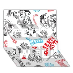 Christmas Doodle Pattern Get Well 3D Greeting Card (7x5)