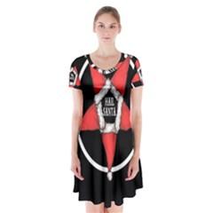 Hail Santa Short Sleeve V Neck Flare Dress