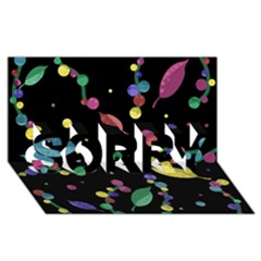 Space Garden Sorry 3d Greeting Card (8x4)