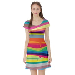 Colorfull Rainbow Short Sleeve Skater Dress