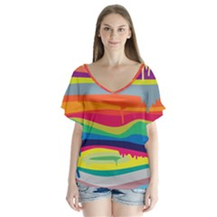Colorfull Rainbow Flutter Sleeve Top