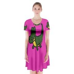 Crocodile Short Sleeve V Neck Flare Dress