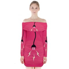 Electric Jack Long Sleeve Off Shoulder Dress