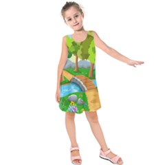 Cute Cartoon Kids  Sleeveless Dress