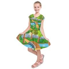 Cute Cartoon Kids  Short Sleeve Dress