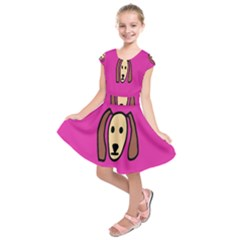 Face Dog Kids  Short Sleeve Dress