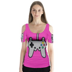 Game Pink Butterfly Sleeve Cutout Tee