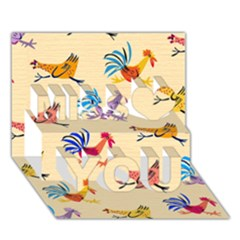 Chicken Miss You 3d Greeting Card (7x5)