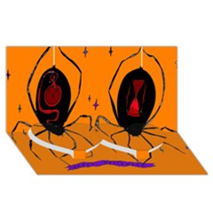 Happy Hellpween Spider Twin Heart Bottom 3d Greeting Card (8x4)