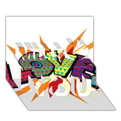 Comic Book Love! Sans  Miss You 3D Greeting Card (7x5)