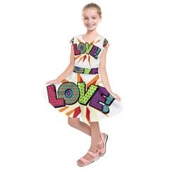 Comic Book Love! Sans  Kids  Short Sleeve Dress