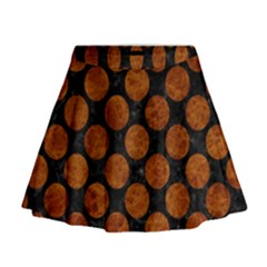 Circles2 Black Marble & Brown Marble Mini Flare Skirt