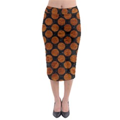 Circles2 Black Marble & Brown Marble Midi Pencil Skirt