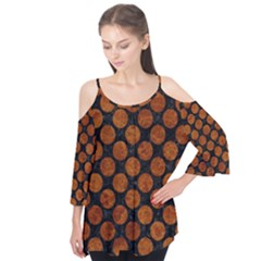 Circles2 Black Marble & Brown Marble Flutter Sleeve Tee