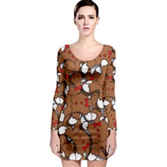 Christmas Candy Seamless Pattern Vectors Long Sleeve Bodycon Dress