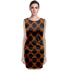 Circles2 Black Marble & Brown Marble (r) Classic Sleeveless Midi Dress