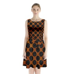 Circles2 Black Marble & Brown Marble (r) Sleeveless Waist Tie Chiffon Dress